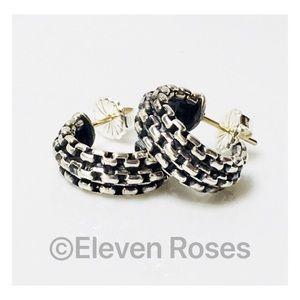 David Yurman Sterling 18k Box Chain Hoop Earrings